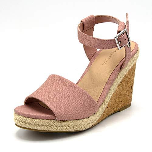 (Nautica Women's Dovie Open Toe Platform Wedge High Heel Sandals-Blush-7.5)