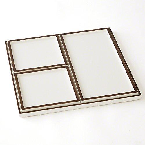 - Ivory Bronze Mid Century Modern Nesting Tray Set 4| Plate Square Retro Geometric