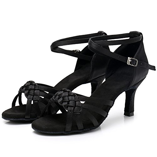 Rumba Black Women's Chacha Dance Heel 7cm LP218 Ballroom SWDZM Shoes Latin Salsa Model Standard XRaPqf