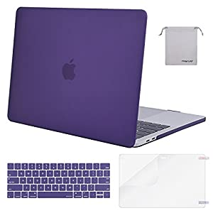 Mosiso MacBook Pro 15 Case 2017 & 2016 Release A1707, Plastic Hard Shell with Keyboard Cover with Screen Protector with Storage Bag for Newest MacBook Pro 15 Inch with Touch Bar, Ultra Violet