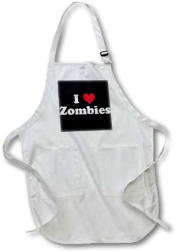 22 by 30-Inch 3dRose apr/_16571/_4 I Love Zombies Full Length Apron with Pockets Black 3D Rose