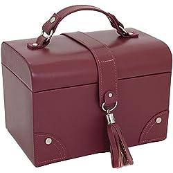 Paylak TS393BUR Leather Jewelry Box with Tassel