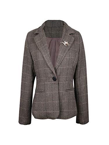 NJunicorn Uncle Womens Tweed Casual Blazer Jacket Outwear One-Button Petite Blazer Elbow Patch Plus Size(Khaki ()