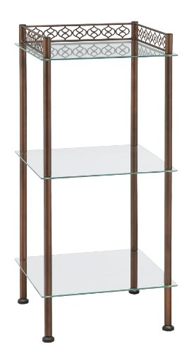 Organize It All 3 Tier Freestanding Tempered Glass Shelf Storage Tower with Bronze Finish