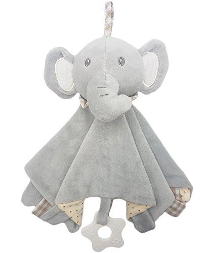 Manta de seguridad para bebé, suave felpa de juguete con silicona y campana integrada, 27,9 x 27,9 cm, Elefante, Una talla