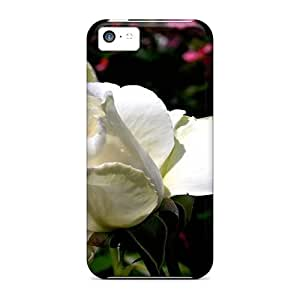 New Premium Flip Case Cover Beautyful White Roses Skin Case For Iphone 5c