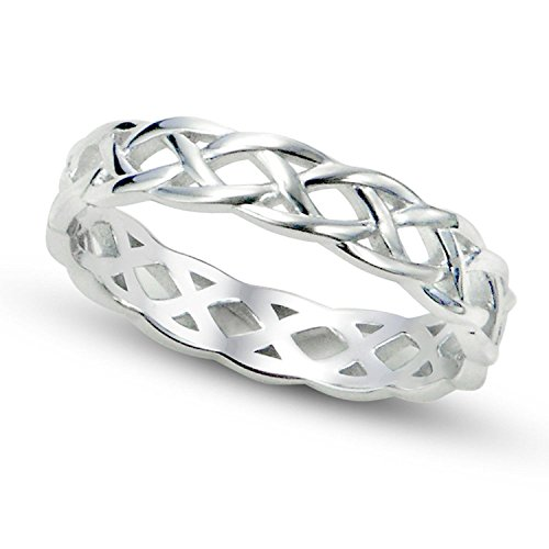 - Sterling Silver 925 4mm Trinity Celtic Knots Eternity Engagement Wedding Band Ring for Women (9)