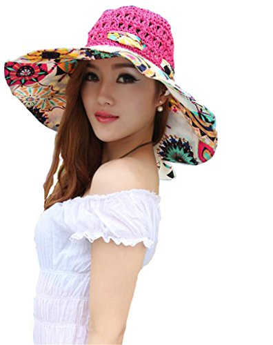 Elufly Flower Summer Large Wide Sun Beach Hat for Women Hand Woven Straw Hat (Rose red)