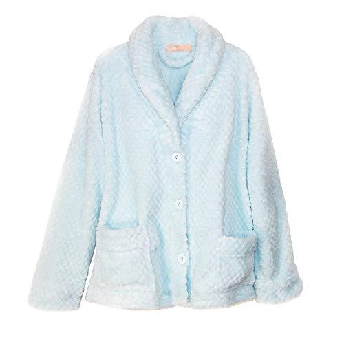 La Cera Women's Button Front Bed Coat, XL, Blue
