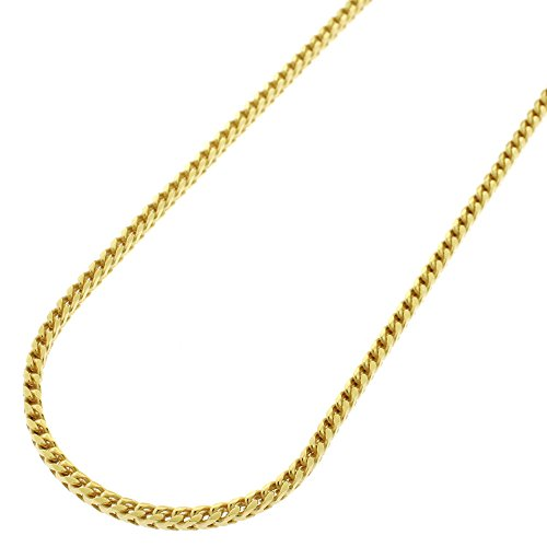 """18K Yellow Gold Italian 2mm Solid Franco Square Box Link - 925 Sterling Silver - Necklace Chain - 16"""" - 30"""""""