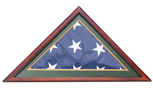 Flag Display Case Shadow Box for Burial Funeral Memorial 5X9.5 Flag, Solid Wood, with Army Green Mat