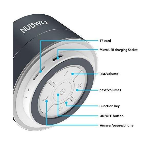 Enceinte Bluetooth, NUBWO A2 Enceinte Bluetooth Mini Portable de Voyage, Enceinte sans Fil avec des Basses Enforcées et des Appels en Mains Libres, Fonctionne avec iPhone, iPad, Samsung - Noir 2