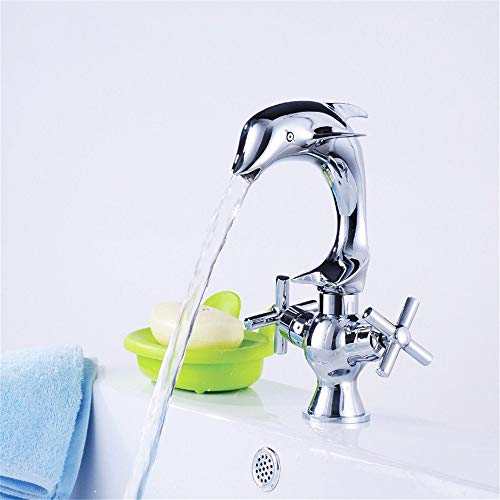 Waterfall Dolphin (Waterfall Dolphin Tap All Copper Hot and Cold Basin Tap Valve Core Hole Improvement Kitchen Faucet 360 Degrees Rotation)