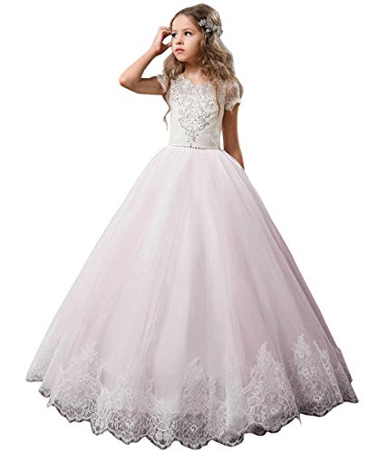 Flower Girl Dress Kids Lace Beaded Pageant Ball Gowns (Size 12, Pale Pink) -