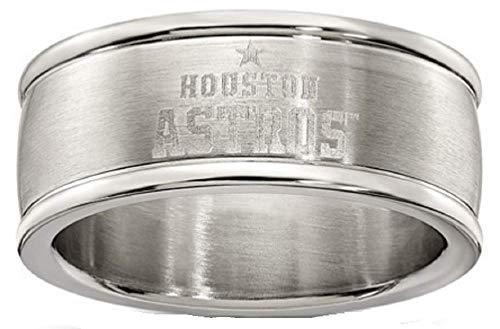 MLB Houston Astros HOUSTON ASTROS STAINLESS STEEL LOGO BAND RING SIZE 9 Size One Size (Have The Houston Astros Won A World Series)