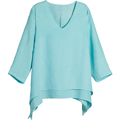 Women's Easy Fit Double Layer Garment Dyed Linen Tunic Top - 1X - Aqua