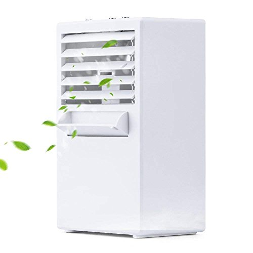 Dirance Mini Portable Personal Desktop Air Conditioner Fan 3-Speed Super Quiet Air Evaporation Circulator Cooler Air Humidifier for Office Dorm (White) by Dirance