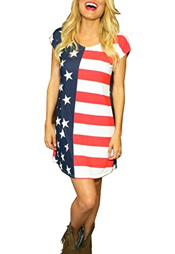 American Flag Loose Sundress Plus Size Swimsuit Cover Up Dress T-Shirt for Women (D)