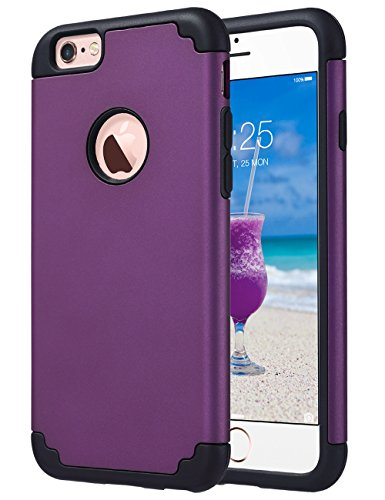 iPhone 6S Case,iPhone 6 Case, ULAK Slim Dual Layer Soft Silicone & Hard Back Cover Bumper Protective Shock-Absorption & Skid-proof Anti-Scratch Hybrid Case-Purple/Black