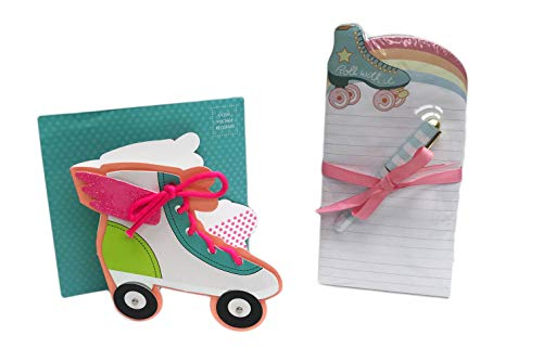 (Roll with It Roller Skate Themed Notepad with Pen & Happy Birthday Greeting Card Novelty Bundle Gift)