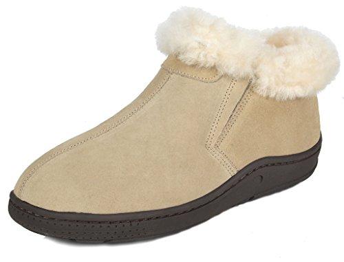 DREAM PAIRS Women's Huggie-01 Sand Sheepskin Fur Winter House Slippers Size 9.5-10 M US