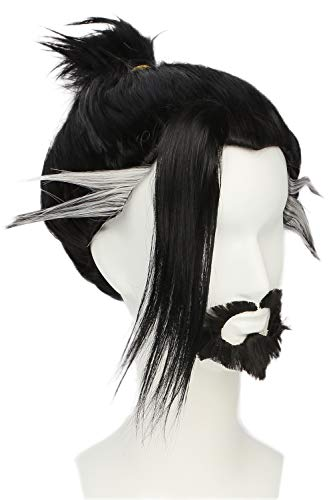 OW Shimada Hanzo Wig Cosplay Black White Short Braided Handmade Hair with Beard Game Cosplay Props