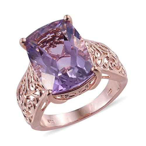 (Cocktail Ring 925 Sterling Silver Vermeil Rose Gold Cushion Pink Amethyst Gift Jewelry for Women Size 5 Ct 10.8)