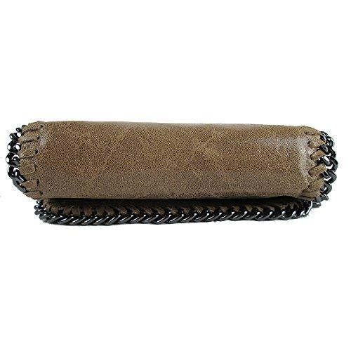 Clutch Designer borsa da sera con tracolla vera pelle Made in Italy Marrone