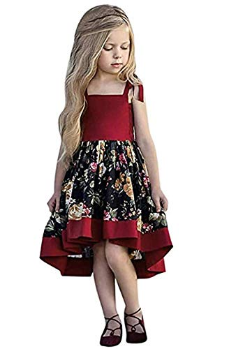HUAER& Little Baby Girls Flowers Lace Beach Dress Summer Clothes 1-8Year Old (120=(for 4-5 Years), Red & Flowers)