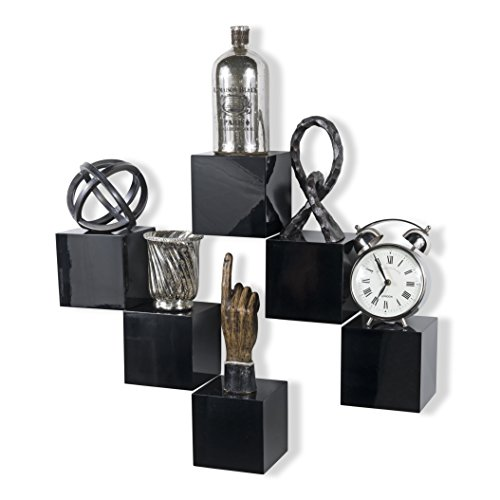 brightmaison Decorative Square Wall Cubes Display – 6 Set Shelf – Glossy Floating Block ()