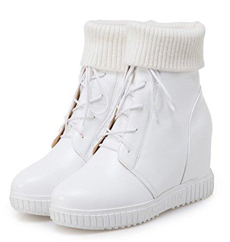 Easemax Femme Elégant Talon Compensé à Lacets Low Boots Bottines Blanc qC3A9Qk
