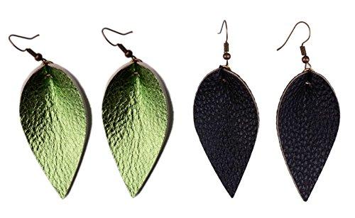 Leather Leaf Green - L&N Rainbery 2 Pairs Petal Leather Earrings Faux Leather Teardrop Earrings Leaf Drop Earrings (Shiny Green+Black)