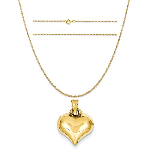 K&C 14k Yellow Gold Puffed Heart Charm on a 14K Yellow Gold Carded Rope Chain Necklace, 18