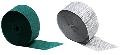 Teal and Silver Metallic Crepe Paper Streamers, 290 Feet Total, Made in ()