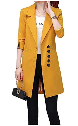 Freely Womens Lapel Collar Trim-Fit Single-Breasted Blazer Jacket Trenchcoat Yellow M ()