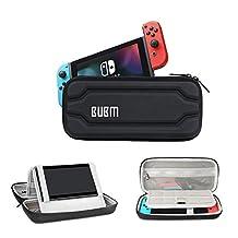 BUBM Funda de Viaje y Transporte para Nintendo Switch Rojo y Azul para Consola y Accesorios, Funda Switch con Base, Negro