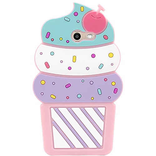 for Samsung Galaxy J7 V / J7 2017 / J7 Prime / J7 Perx / J7 Sky Pro/Galaxy Halo Case, MC Fashion Cute 3D Pink Cherry Cupcake Design, Shockproof and Protective Silicone Cover Case (Cupcake)