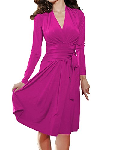 Allegra Women V Long Deep Strap Dress Fuchsia Sleeve Crossover Waist Self Neck Tie K xYq6wSx