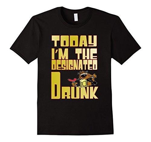 [Men's Today I'm Designated Drunk Party T-Shirt Beer Drinker Large Black] (Designated Drinker)