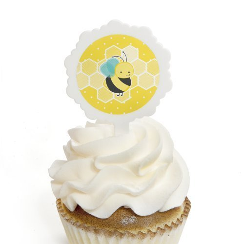 Honey Bee - Cupcake Picks with Stickers - Baby Shower or Birthday Party Cupcake Toppers - 12 Count