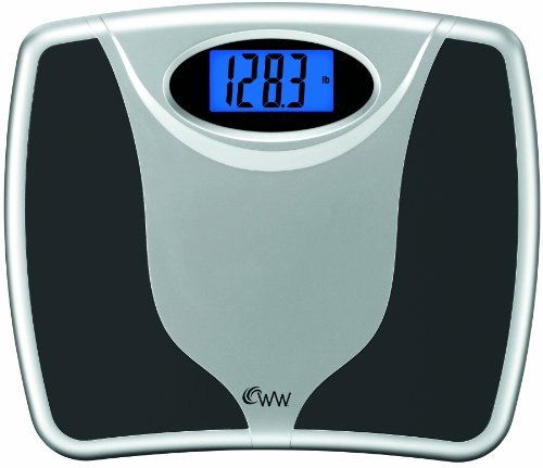 WW Scales by Conair Digital Precision Bathroom Scale, 400 lb. capacity, Extra-Large Platform (13.8in. X 11.8in) Bath Scale, Black / Chrome