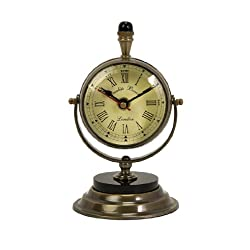 New - Elegant Antique Style Brass Pedestal Desk Clock 7 by Gordon