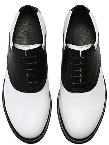 Scarpe Nero SimpleC Vintage 50s Perforato Toni Donna Sella Pelle Due Oxford Stringate 7ttFqPWrn