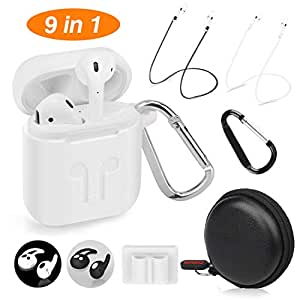 Cuauco AirPods Case Protective Silicone Cover with 2 Anti-Lost Airpods Strap/2 Pairs of Ear Hooks/2 Carabiner/1 Airpods Watch Band Holder/1 Headphone Case for Apple Airpods Accessories (9 Pack)(White)