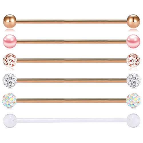 FECTAS 14G Industrial Barbells Earrings Stainless Steel Rose Gold Cartilage Piercing Bars Barbell 6pcs 38mm