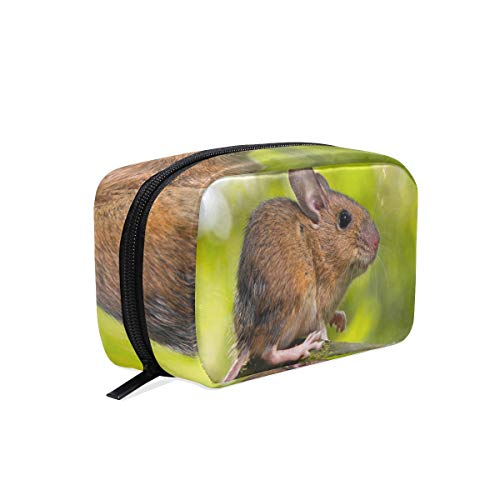 Cosmetic Bag Mouse On Dead Wood Customized Makeup Bags Square Organizer Portable Pouch Pencil Storage Case for Women