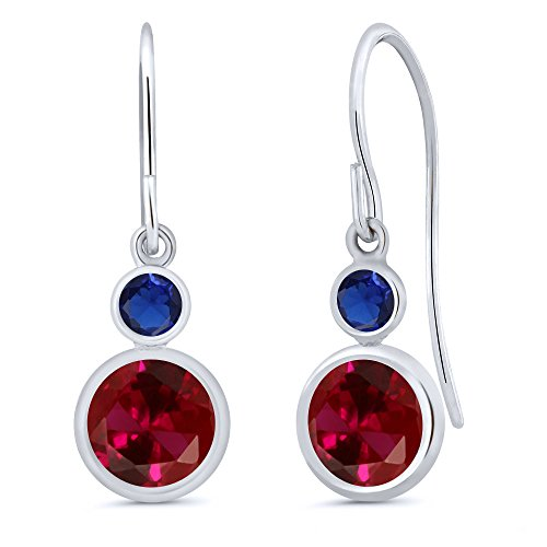 - Gem Stone King 2.26 Ct Round Red Created Ruby Blue Simulated Sapphire 14K White Gold Earrings