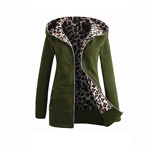 NEW MOSE Fashion Women Plus Size Long Sleeve Winter Warm Velvet Thicker Hooded Leopard Zipper Coat Overcoat (Army green, XXL) (Solid Sleeve Women Overcoat)