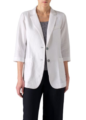 Vivid Linen Single Breasted Jacket-3X-White