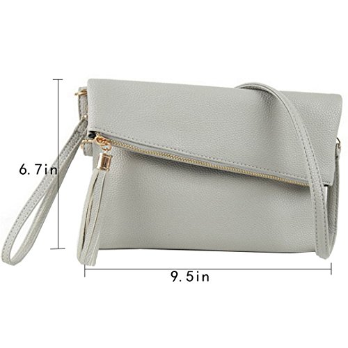 Evening LA Black Handbag Foldover HAUTE Wristlet Tassel Crossbody Clutch Leather grey Pu Bag Purse Women Envelope Light wA8qrwx4U